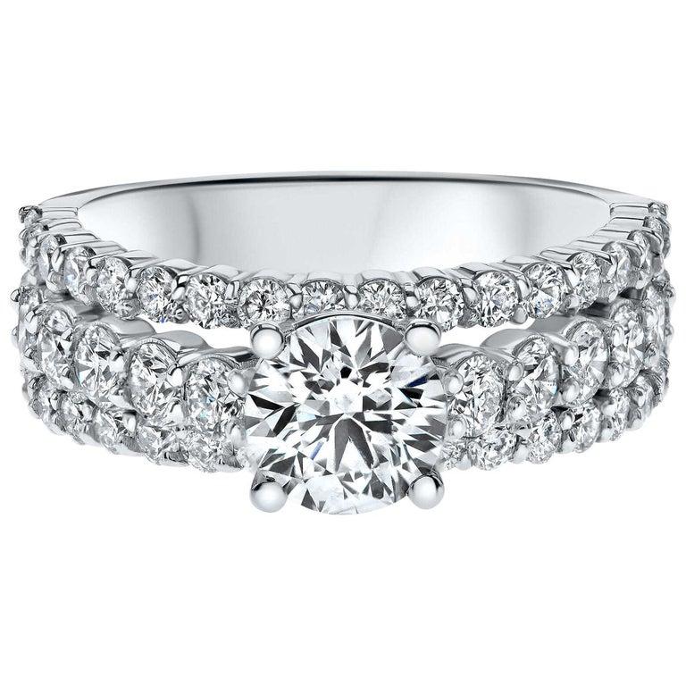 "2.60 Carat ""Katelyn"" 3 Row Diamond Ring in 14 Karat White Gold - Shlomit Rogel For Sale"
