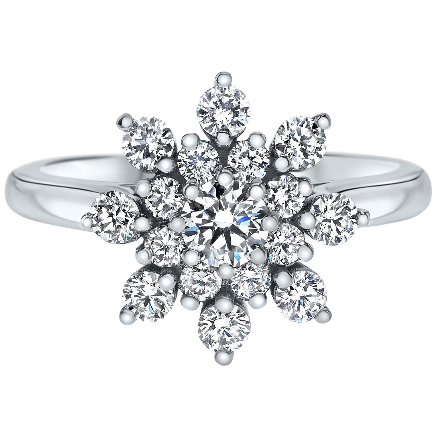 1.15 Carat Flower Diamond Ring in 14 Karat White Gold - Shlomit Rogel
