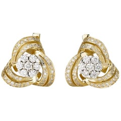 Shlomit Rogel, 1.18 Carat Diamond Earrings in 14 Karat Yellow Gold