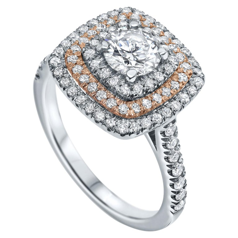 1.2 Carat Triple Halo Engagement Ring in 14 Karat White Gold - Shlomit Rogel For Sale