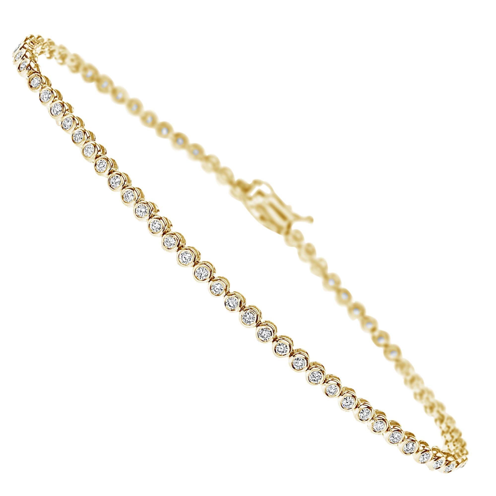 1.20 Carat Diamonds Tennis Bracelet in 14 Karat Yellow Gold - Shlomit Rogel