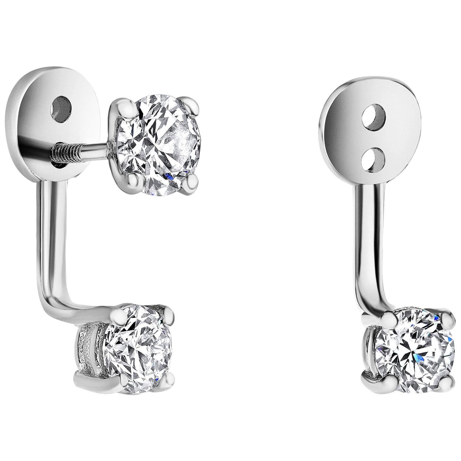 0.72 Carat  Diamond Earrings Ear Jackets in 14 Karat White Gold - Shlomit Rogel