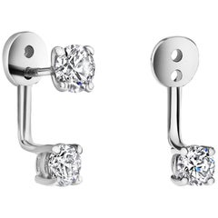 Shlomit Rogel, 14 Karat White Gold Diamond Earrings Ear Jackets Cupid's Kiss