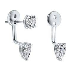 0.75 Carat Pear Shaped Diamond Earrings Set in 14K White Gold - Shlomit Rogel