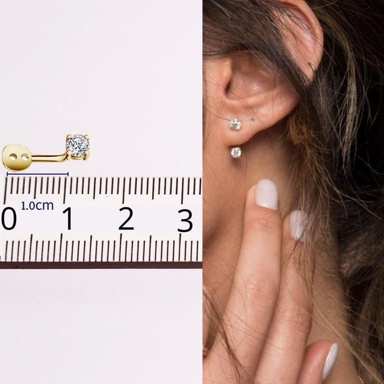Art Deco 0.72 Carat Diamond Earrings Ear Jackets in 14 Karat Yellow Gold - Shlomit Rogel For Sale