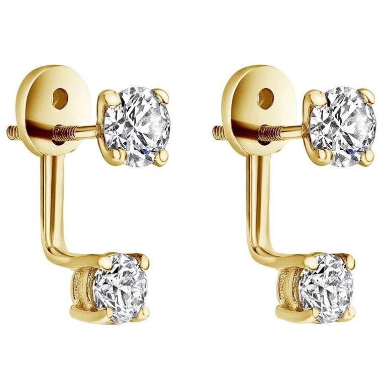 0.72 Carat Diamond Earrings Ear Jackets in 14 Karat Yellow Gold - Shlomit Rogel For Sale