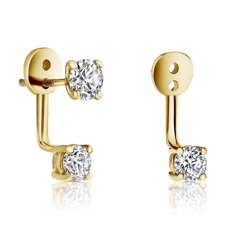 0.72 Carat Diamond Earrings Ear Jackets in 14 Karat Yellow Gold - Shlomit Rogel  These beautiful diamond set is a part of Shlomit Rogel's Cupid's Kiss Collection. Classic diamond studs are attached to a diamond ear jacket set with 0.36 carat