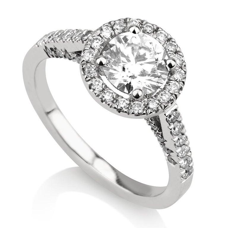 Art Deco Shlomit Rogel, 1.62 Carat EGL Certified Diamond Ring in 18 Karat White Gold For Sale