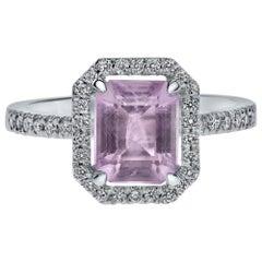 Shlomit Rogel, 1.65 Carat Emerald Cut Amethyst and Diamonds Ring in White Gold