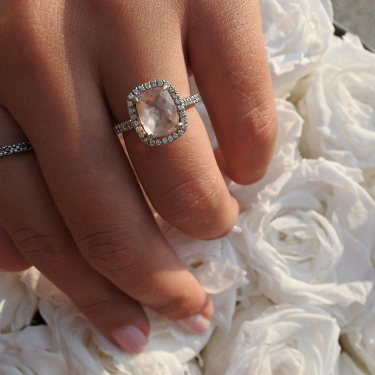 2.09 Carat Morganite and Diamonds Ring in 14 Karat White Gold - Shlomit Rogel For Sale 4