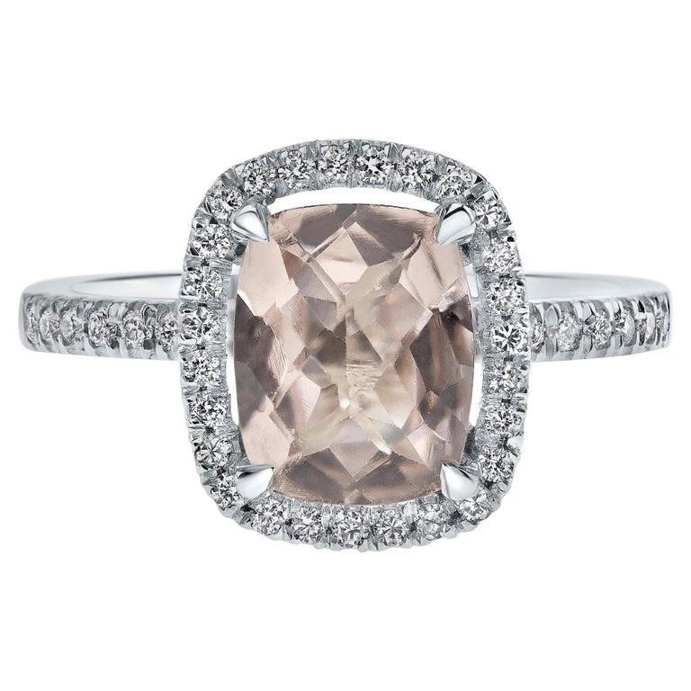 2.09 Carat Morganite and Diamonds Ring in 14 Karat White Gold - Shlomit Rogel For Sale