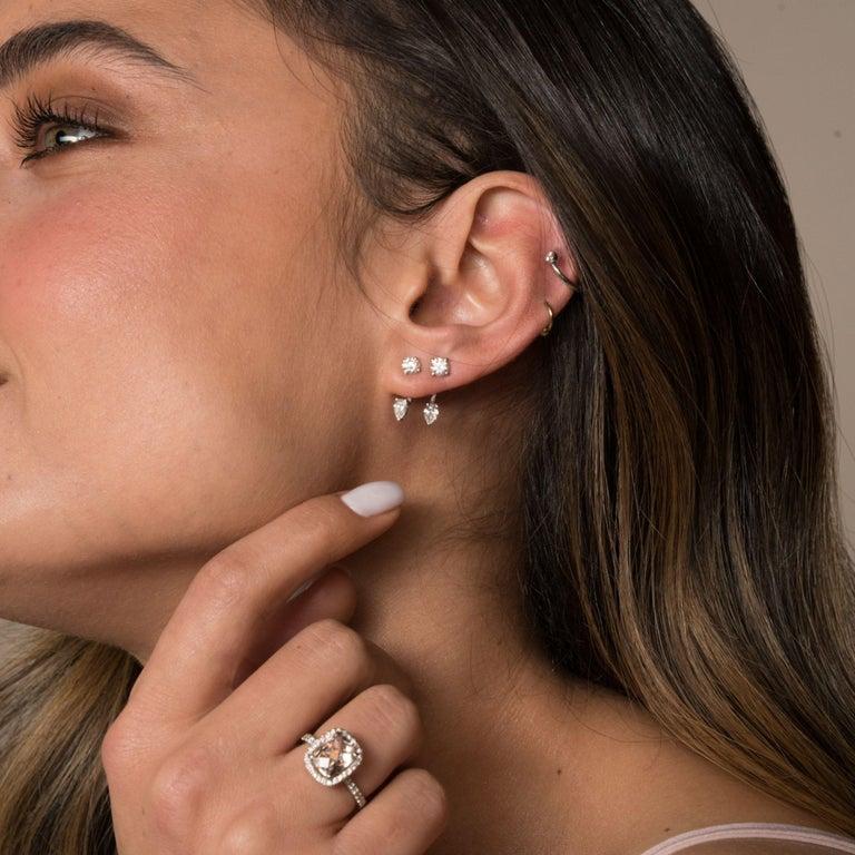 2.09 Carat Morganite and Diamonds Ring in 14 Karat White Gold - Shlomit Rogel For Sale 2