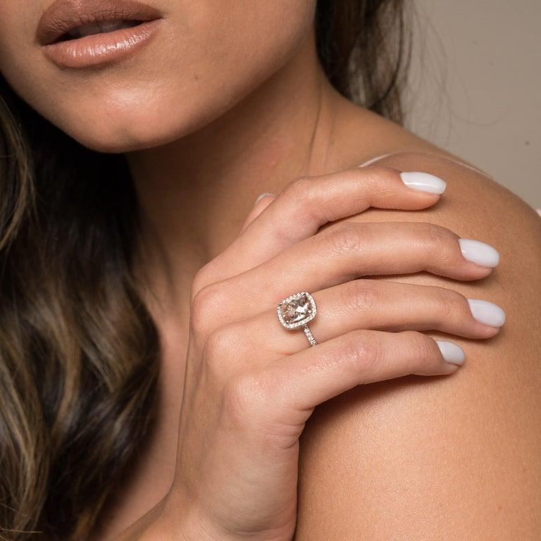 2.09 Carat Morganite and Diamonds Ring in 14 Karat White Gold - Shlomit Rogel For Sale 3
