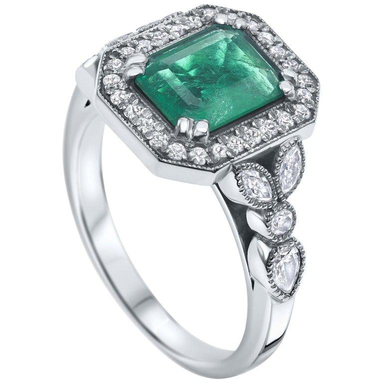 2.53 Carat Emerald & Diamond Ring in 14 Karat White Gold - Shlomit Rogel