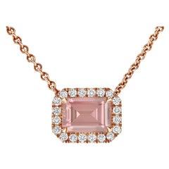Shlomit Rogel, 2.2 Carat Morganite and Diamonds Pendant in 14 Karat Rose Gold