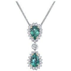 Shlomit Rogel, 2.23 Carat IGL Certified Natural Zambian Emerald Diamond Pendant