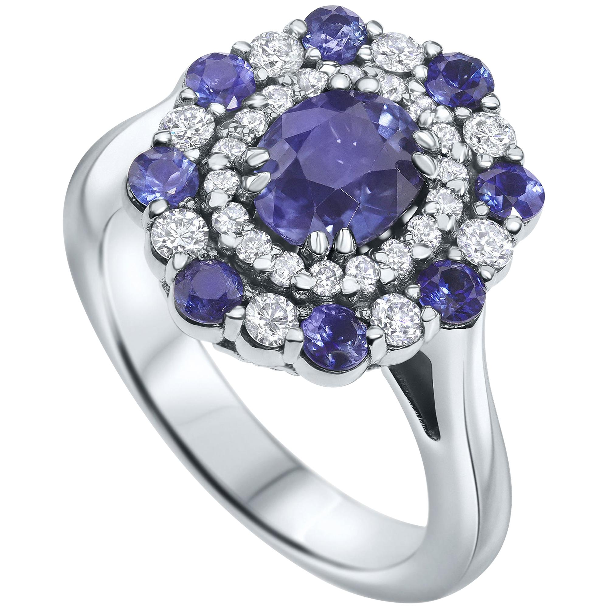 2.50 Carat GIA Certified Natural Blue Sapphire and Diamonds Ring - Shlomit Rogel