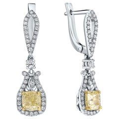 2.57 CT IGI Certified Natural Fancy Yellow&White Diamond Earrings Shlomit Rogel