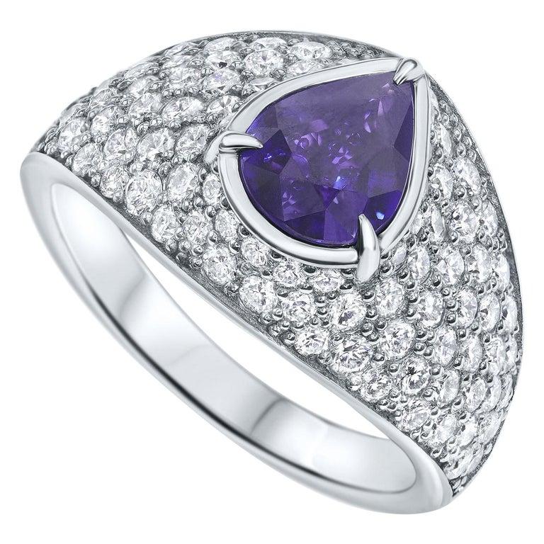 2.66 Carat GIA Certified Sapphire Diamonds Ring 18 Karat Gold - Shlomit Rogel For Sale