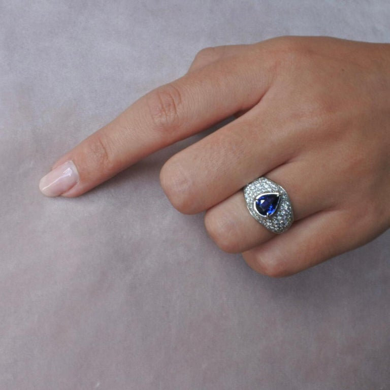Pear Cut 2.66 Carat GIA Certified Sapphire Diamonds Ring 18 Karat Gold - Shlomit Rogel For Sale
