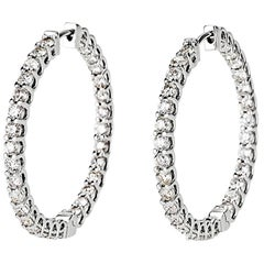 Shlomit Rogel, 3 Carat Diamond Hoops Earrings in 14 Karat White Gold