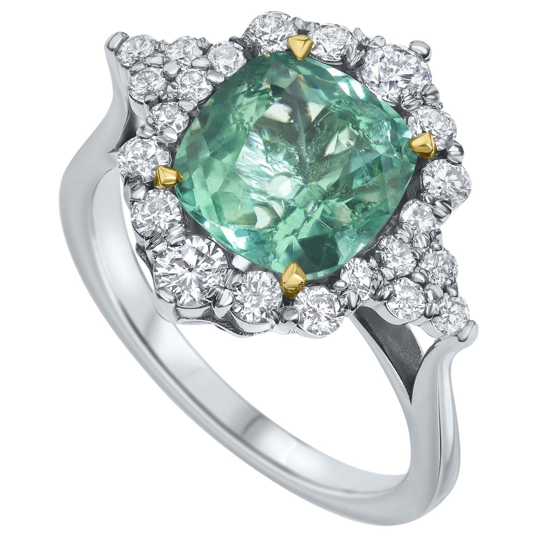 3.15 Carat Emerald and Diamonds Ring 18 Karat White Gold - Shlomit Rogel