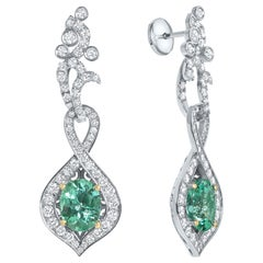 Shlomit Rogel, 4.70 Carat Emerald and Diamonds Royalty Earrings 18 Karat Gold