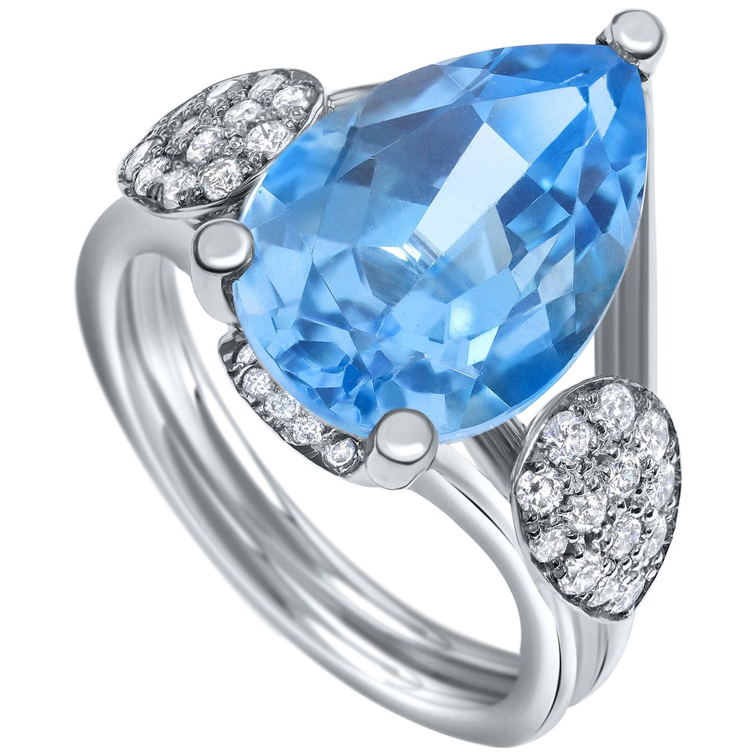 8.00 Carat Blue Topaz and Diamonds Ring in 14 Karat White Gold - Shlomit Rogel