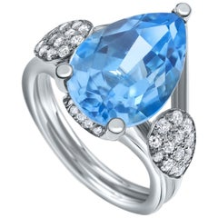 Shlomit Rogel - Blue Topaz and Diamonds Ring in 14 Karat White Gold Unique Gift