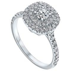 Double Halo 0.80 Carat Diamond Ring in 14 Karat White Gold - Shlomit Rogel