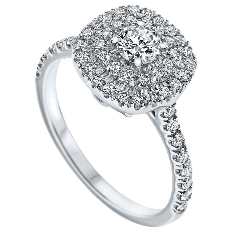 Double Halo 0.80 Carat Diamond Ring in 14 Karat White Gold - Shlomit Rogel For Sale