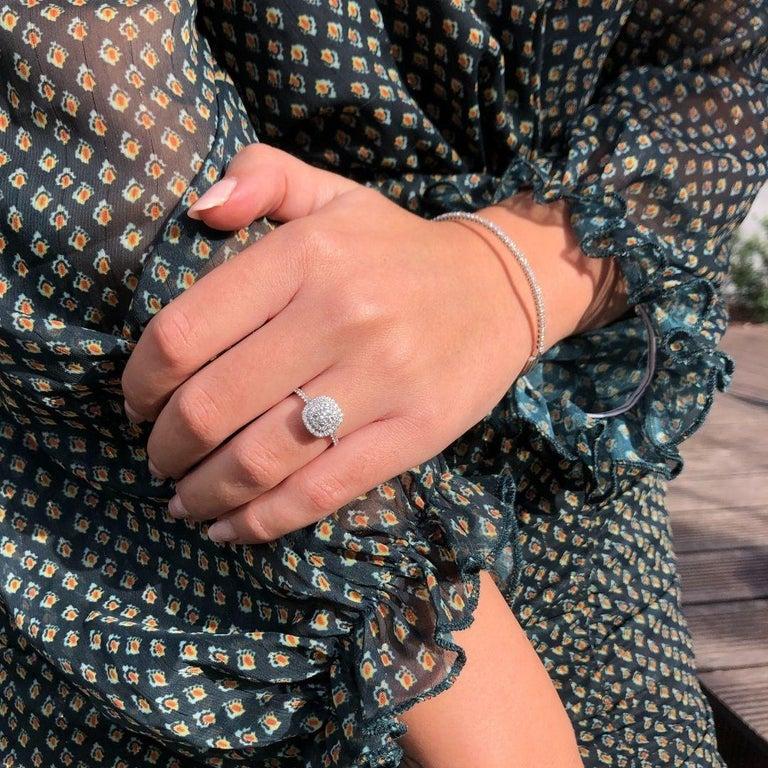 Women's or Men's Double Halo 0.80 Carat Diamond Ring in 14 Karat White Gold - Shlomit Rogel For Sale