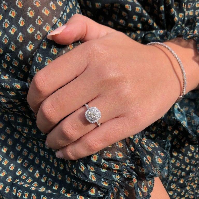 Double Halo 0.80 Carat Diamond Ring in 14 Karat White Gold - Shlomit Rogel For Sale 1