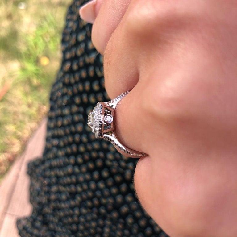 Double Halo 0.80 Carat Diamond Ring in 14 Karat White Gold - Shlomit Rogel For Sale 2