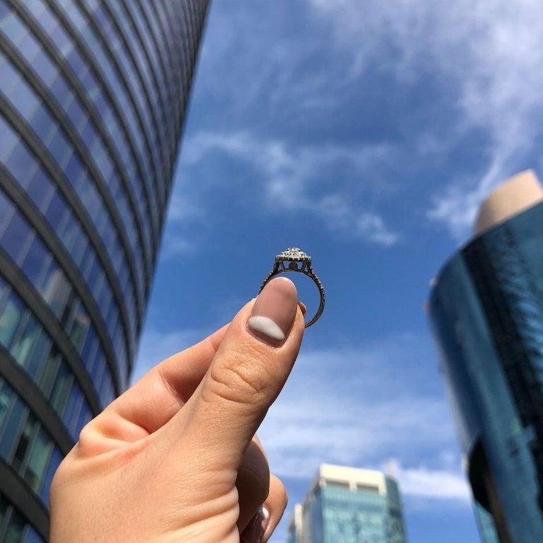 Double Halo 0.80 Carat Diamond Ring in 14 Karat White Gold - Shlomit Rogel For Sale 3