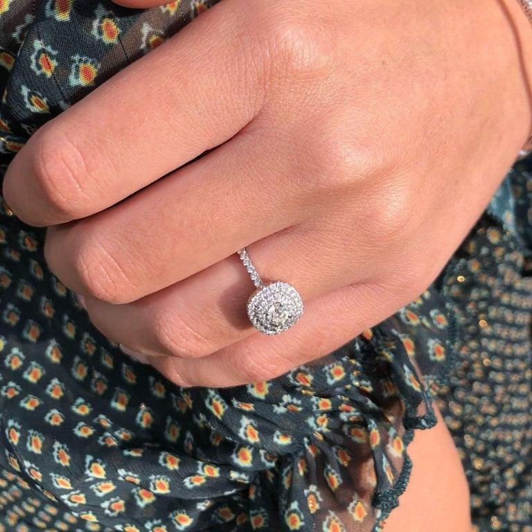 Double Halo 0.80 Carat Diamond Ring in 14 Karat White Gold - Shlomit Rogel For Sale 4