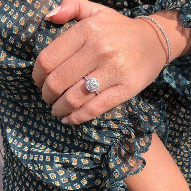 Double Halo 0.80 Carat Diamond Ring in 14 Karat White Gold - Shlomit Rogel For Sale 5