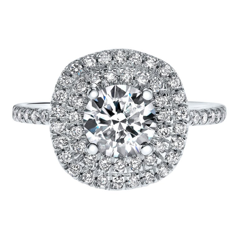 14 Karat White Gold Double Halo 1.55 Carat Diamond Ring - Shlomit Rogel For Sale