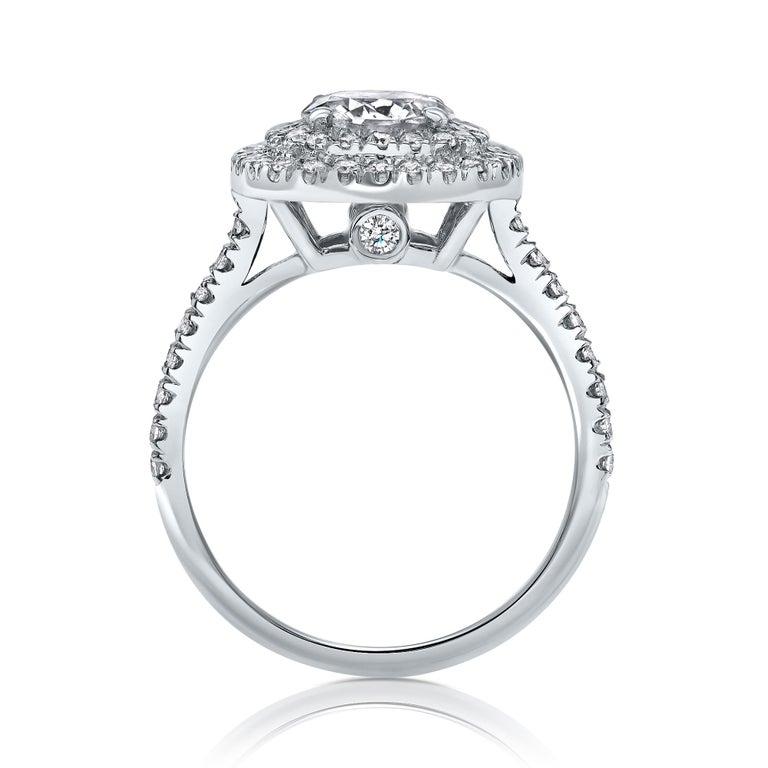 Modernist  14 Karat White Gold Double Halo 1.55 Carat Diamond Ring - Shlomit Rogel For Sale
