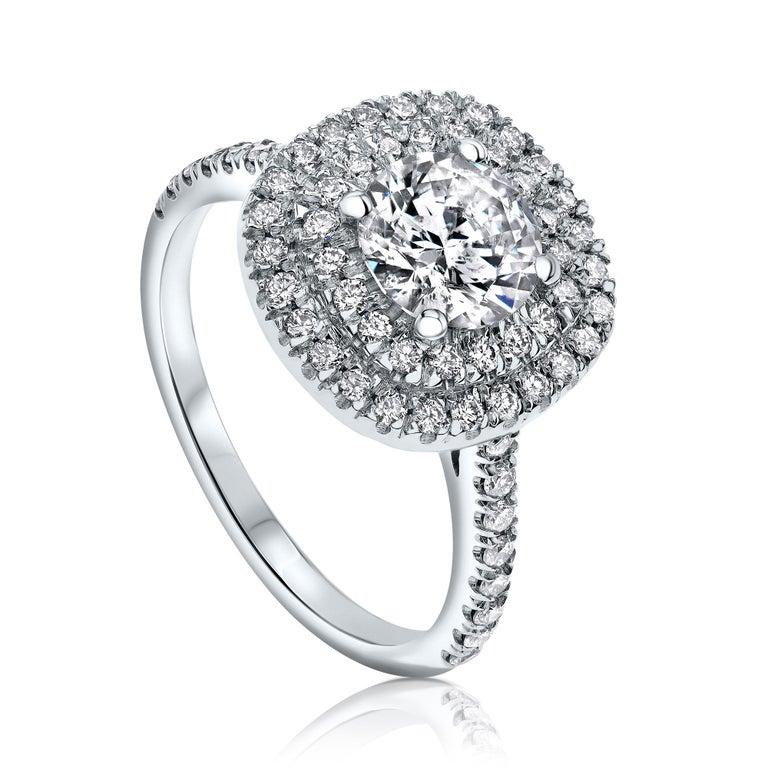 Round Cut Shlomit Rogel, Double Halo 1.55 Carat Diamond Ring in 14 Karat White Gold For Sale