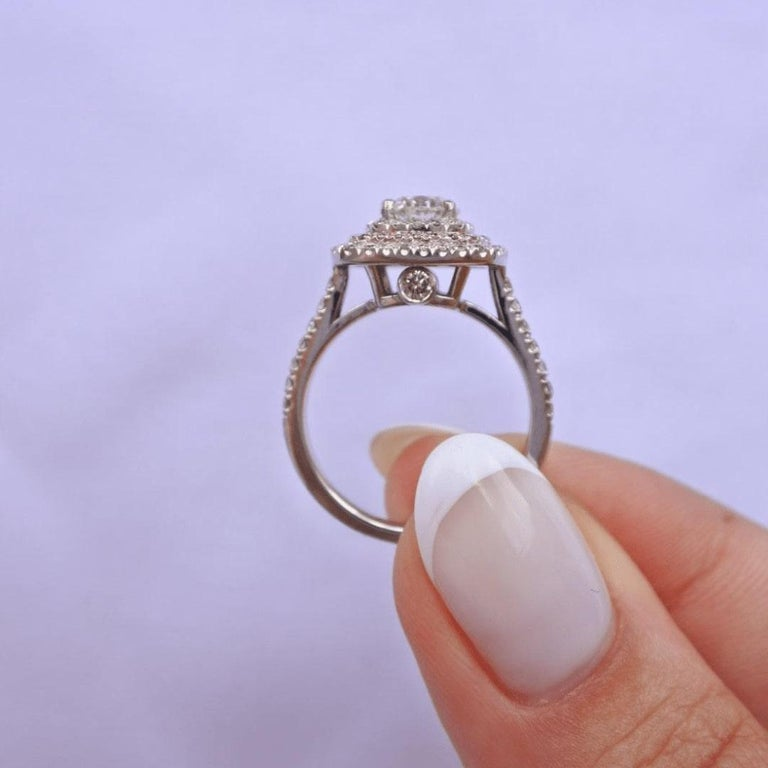 Shlomit Rogel, Double Halo 1.55 Carat Diamond Ring in 14 Karat White Gold In New Condition For Sale In Ramatgan, IL