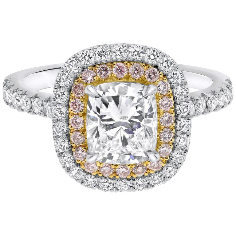 """2.10 Carat """"Cortney"""" Double Halo White & Pink Diamonds Ring in 14K White Gold  For Sale"""