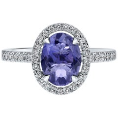 1.20 Carat Oval Tanzanite and Diamonds Halo Ring in White Gold - Shlomit Rogel