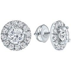 2.00 Carat Diamond Halo Earrings in 14 Karat White Gold - Shlomit Rogel