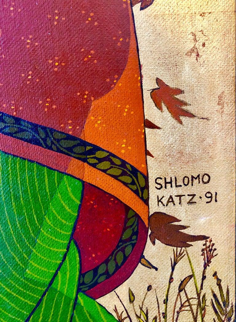 Large Mythological, Zodiac Oil Painting Gold Leafed Israeli Judaica Masterpiece - Black Landscape Painting by Shlomo Katz