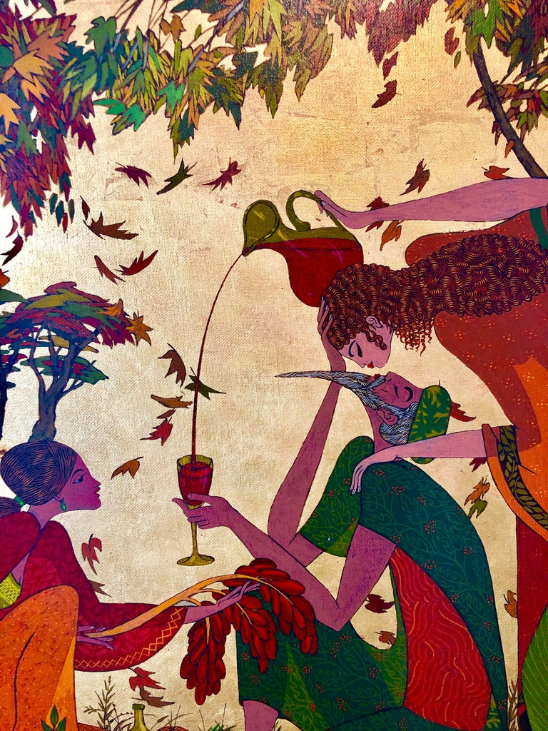 Large Israeli Jewish painting of mythology and Zodiac signs. Painted in a beautiful Magic realism style, reminiscent of the works of Michael Parkes and Arik Brauer.  Born in Lodz, Poland, Shlomo Katz immigrated to Palestine when he was just 8 years