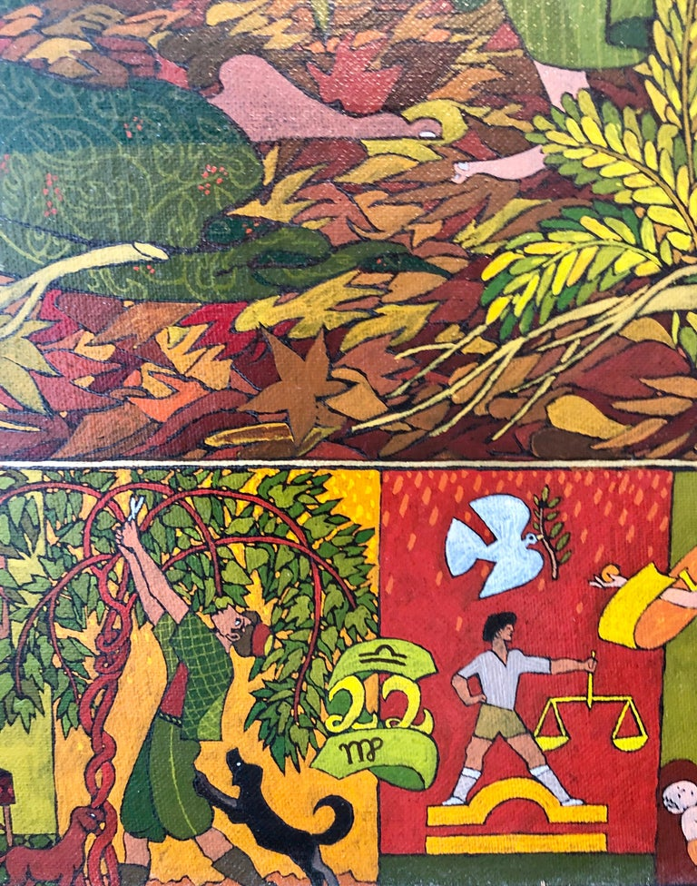 Large Mythological, Zodiac Oil Painting Gold Leafed Israeli Judaica Masterpiece For Sale 1