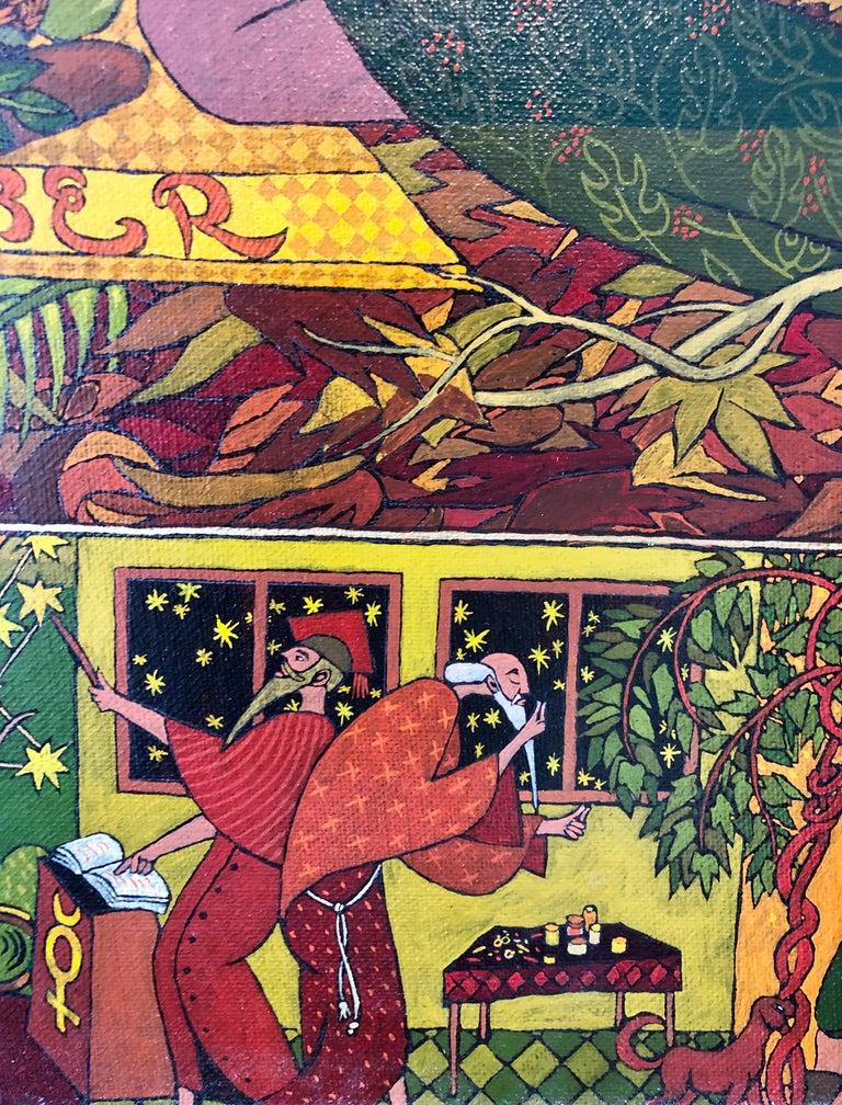 Large Mythological, Zodiac Oil Painting Gold Leafed Israeli Judaica Masterpiece For Sale 2