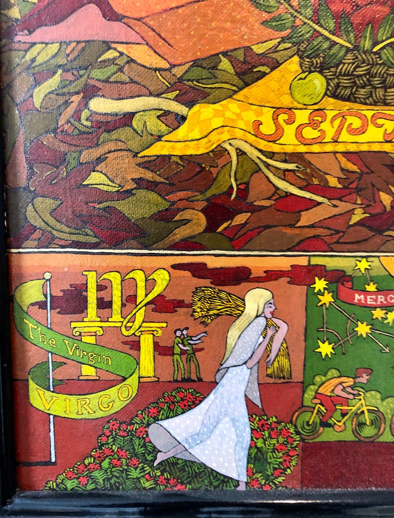 Large Mythological, Zodiac Oil Painting Gold Leafed Israeli Judaica Masterpiece For Sale 4