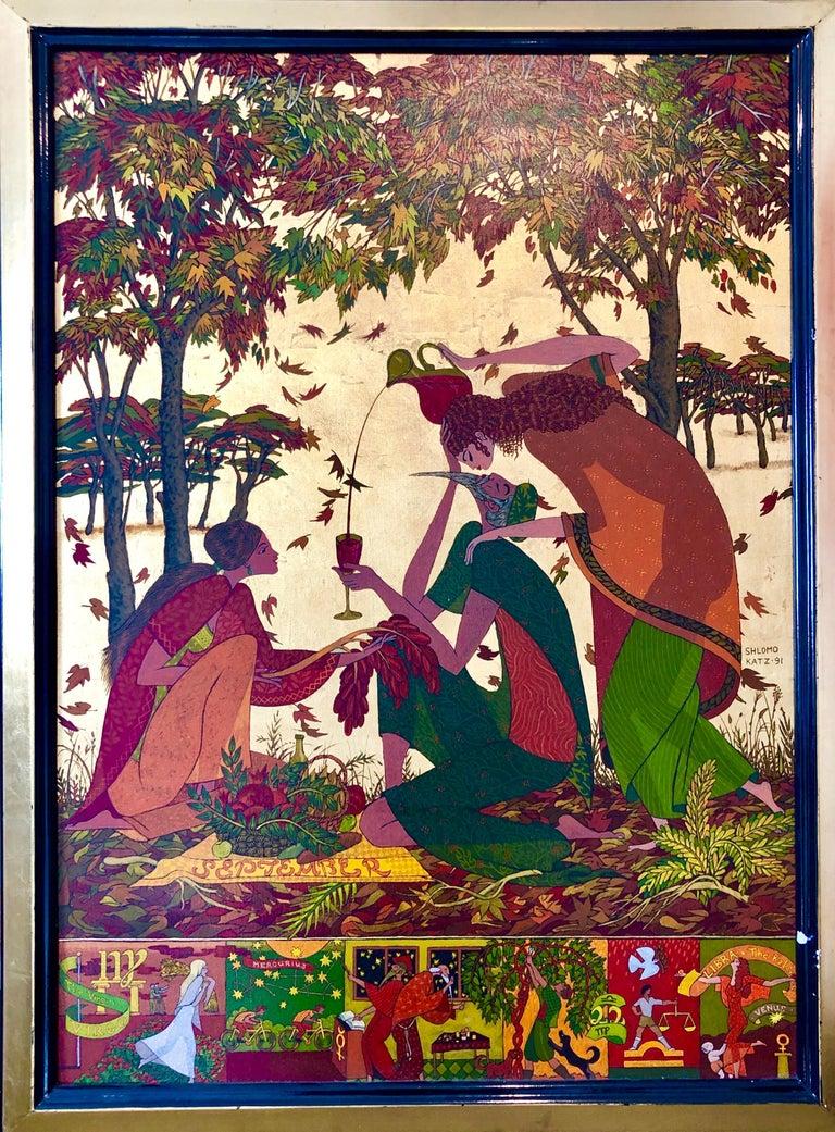 Large Mythological, Zodiac Oil Painting Gold Leafed Israeli Judaica Masterpiece For Sale 6